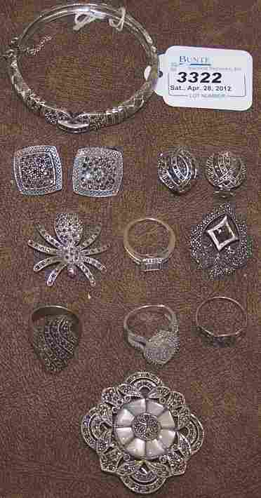 3322: ***GROUP OF STERLING SILVER AND MARCASITE JEWELRY