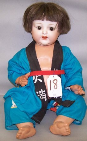 R.E. NIPPON BISQUE HEAD DOLL|