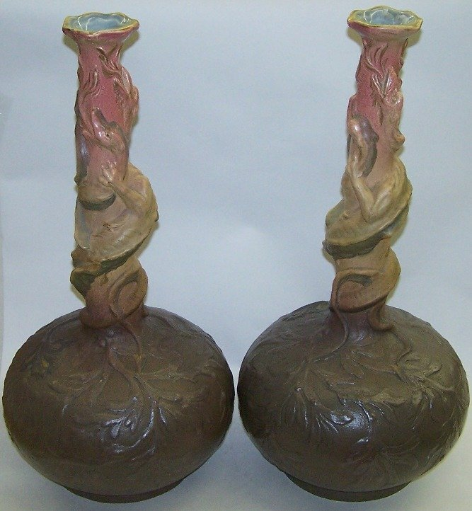 1017: PAIR OF CONTINENTAL ART POTTERY VASES