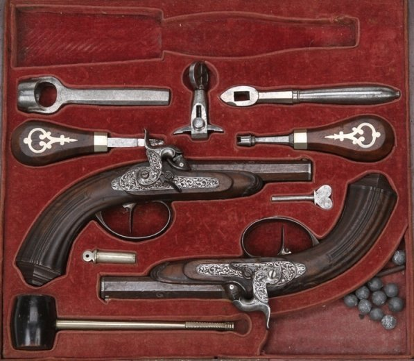 4001: ***CASED SET OF UNIQUE GERMAN PERCUSSION PISTOLS