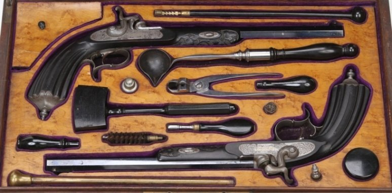 4002: ***CASED PAIR OF FRENCH PERCUSSION PISTOLS