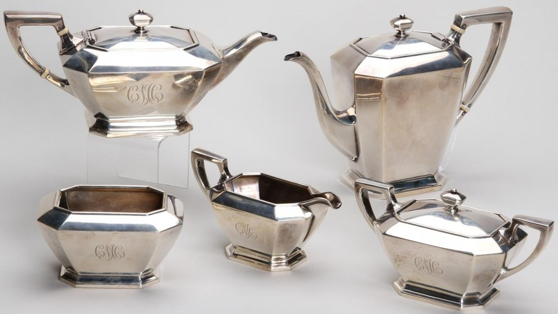 1001: ***GORHAM STERLING SILVER FIVE PIECE TEA AND COFF