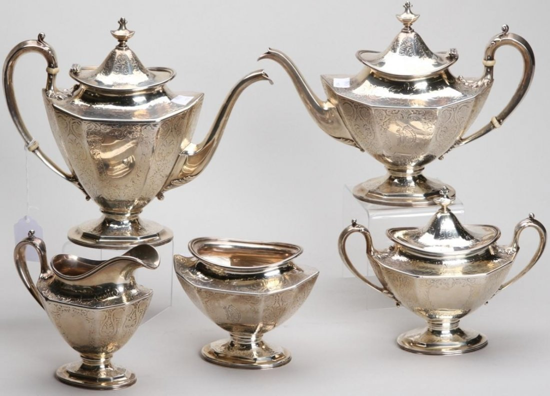 1007: ***REED AND BARTON STERLING SILVER FIVE PIECE TEA