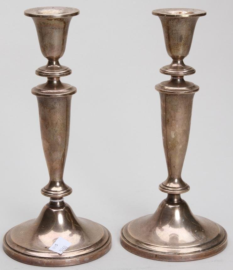 1021: ***PAIR OF WATSON STERLING SILVER WEIGHTED CANDLE