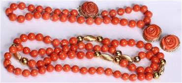 1291 TWO PINK CORAL NECKLACES