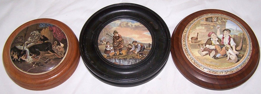 3: ***THREE 19TH C. POT LIDS