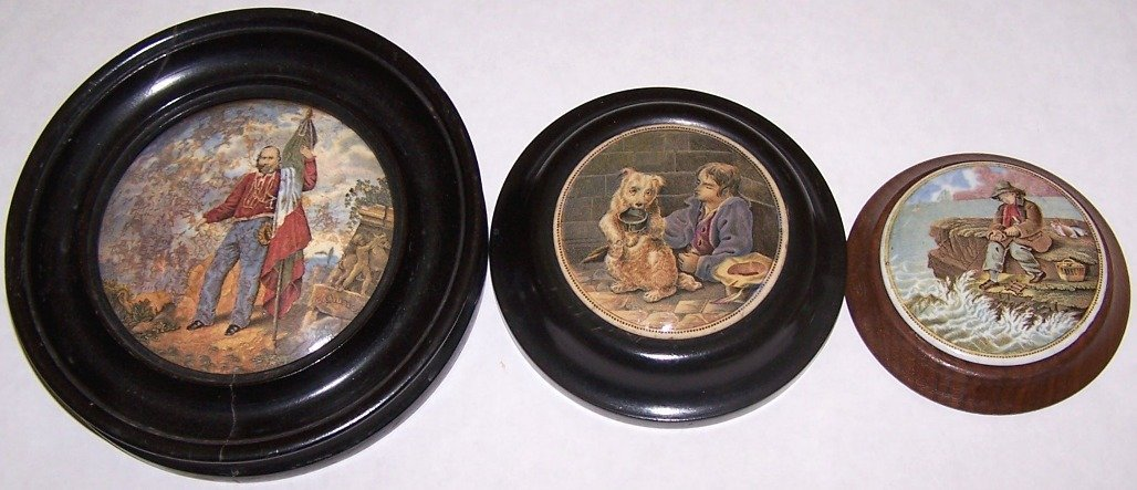 6: ***THREE 19TH C. POT LIDS