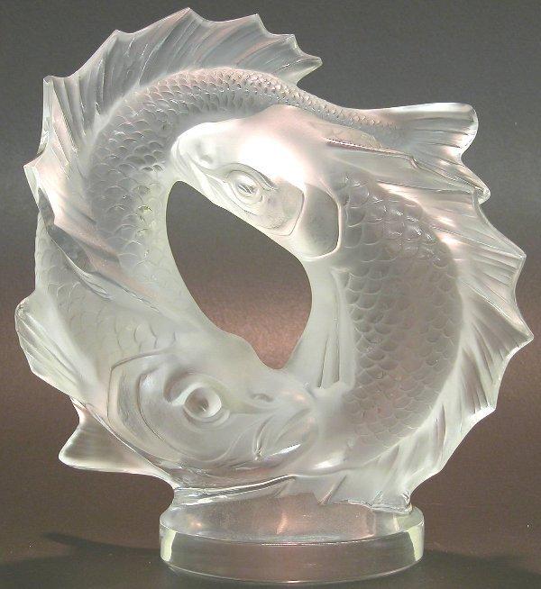 1022: ***LALIQUE ART GLASS FISH FIGURAL GROUP