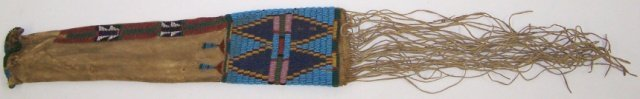 *PLAINS BEADED AND QUILLED HIDE PIPE BAG