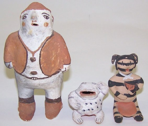 *3 NATIVE AMERICAN CLAY FIGURES