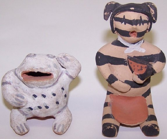 *3 NATIVE AMERICAN CLAY FIGURES - 3