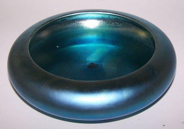 *STEUBEN BLUE AURENE ART GLASS FOOTED BOWL