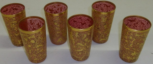 *SET OF 6 MOSER CRANBERRY GLASS TUMBLERS
