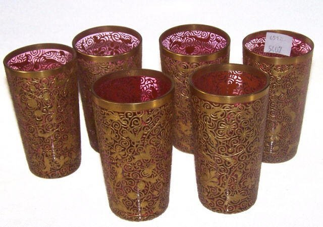 *SET OF 6 MOSER CRANBERRY GLASS TUMBLERS - 6
