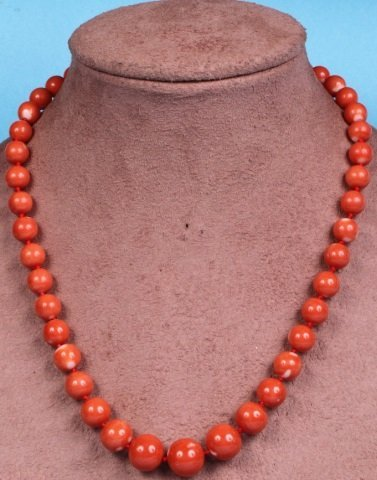 """*17"""" GRADUATED PINK CORAL BEAD NECKLACE"""