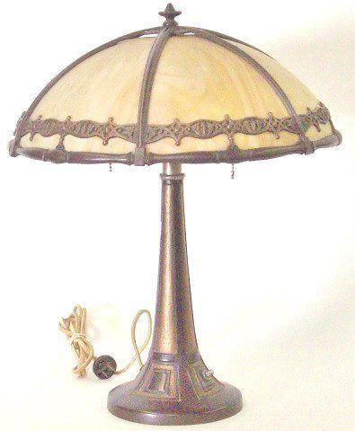 *ART NOUVEAU SLAG GLASS TABLE LAMP