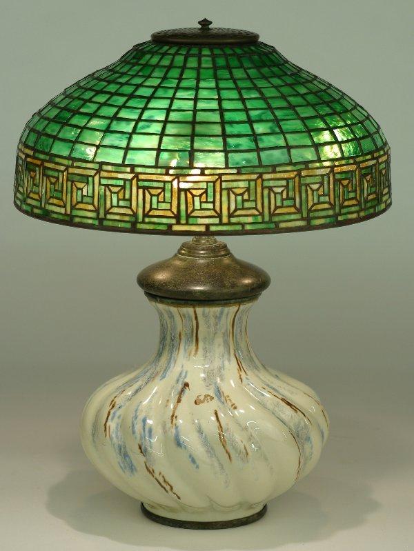 1075: TIFFANY GREEK KEY FAVRILE GLASS AND LEA
