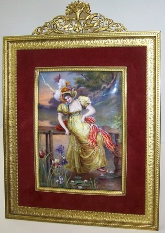 *FRENCH ENAMEL ON COPPER PLAQUE