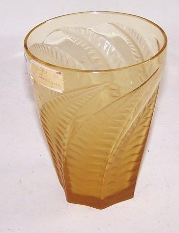 *R. LALIQUE AMBER ART GLASS FERN VASE