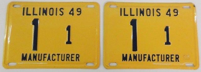 PAIR OF 1949 ILLINOIS MANUFACTURER LICENSE PLATES