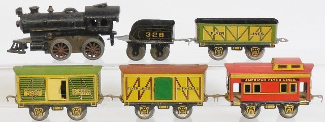 *AMERICAN FLYER TIN LITHO WIND UP FREIGHT SET