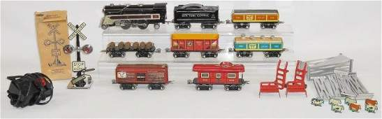 *MARX TIN FREIGHT TRAIN SET WITH ACCESSORIES