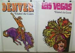 2 VINTAGE 1960S UNITED AIRLINES TRAVEL POSTERS
