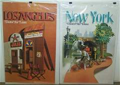 2 VINTAGE 1970S UNITED AIRLINES TRAVEL POSTERS