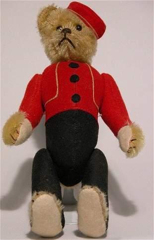 YES/NO SCHUCO BELLHOP TEDDY BEAR| Brown mohair head
