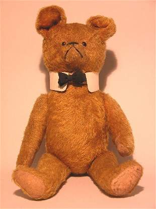 LARGE BOW TIE TEDDY BEAR| Gold mohair, fully jointed