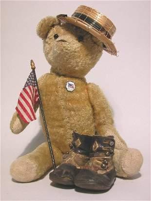 MOHAIR BEAR AND CHILD'S SHOES| Gold mohair bear, hei