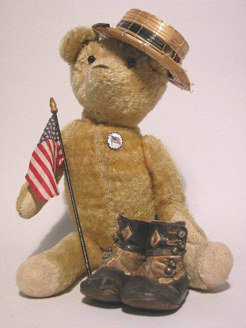 9: MOHAIR BEAR AND CHILD'S SHOES| Gold mohair bear, hei