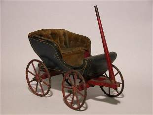 DOLL SURREY BUGGY| Blue with red wheels, yellow ste