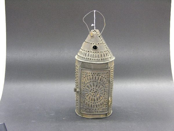 18: 19TH CENTURY PUNCHED TIN LANTERN| Height 13''.