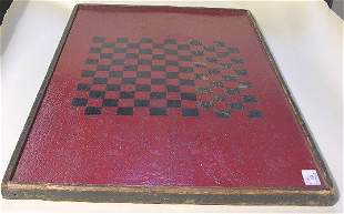 CHECKERBOARD| Black checkers on red ground, 33'' x