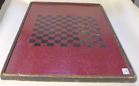 19: CHECKERBOARD| Black checkers on red ground, 33'' x