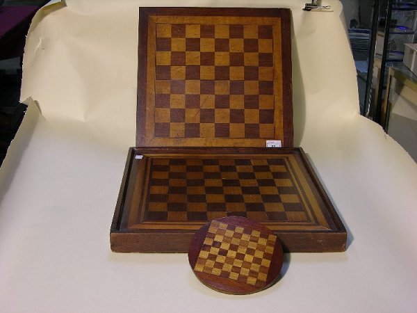 22: THREE CHECKERBOARDS| Natural wood inlays, one diame
