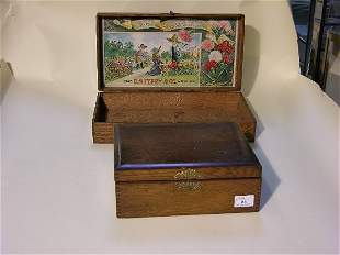 TWO SEED ADVERTISING BOXES| Interior lithographed p