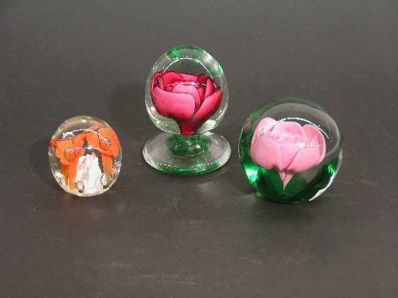 212: ***THREE ST. CLARE PAPERWEIGHTS| With floral inter