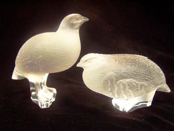 1002: TWO LALIQUE ART GLASS PARTRIDGES