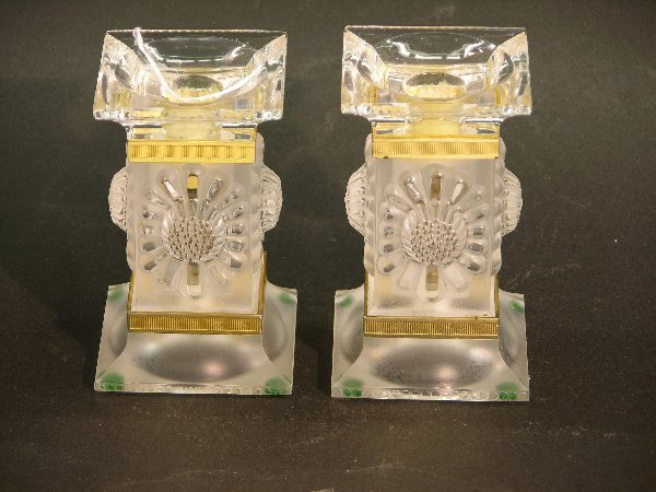 1016B: PAIR OF LALIQUE ART GLASS CANDLEHOLDERS