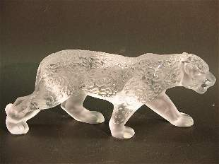 LALIQUE ART GLASS JAGUAR (FAMILLE JAGUAR)