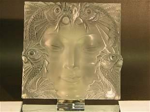 LALIQUE ART GLASS SCULPTURE (MASQUE DE FEMME)