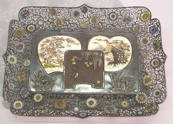 1132A: JAPANESE SILVERPLATE, BRONZE AND IVORY TRAY