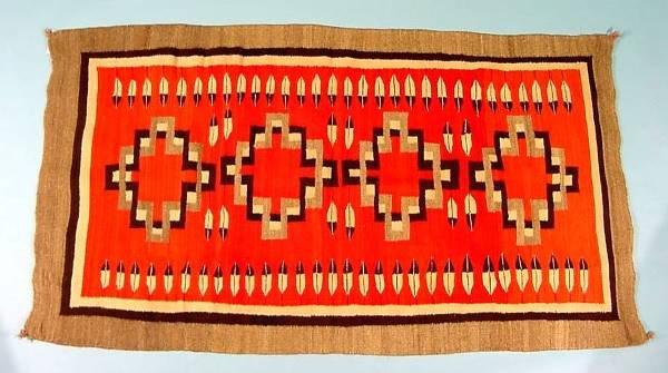 2137: NAVAJO WEAVING| Ganado with cross and feather des
