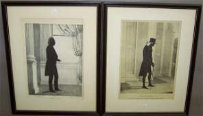 *2 FRAMED KELLOGG LITHOGRAPH PORTRAIT SILHOUETTES