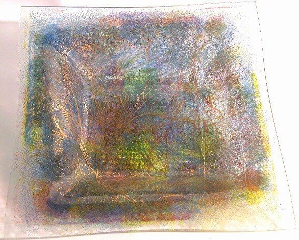 1012: HIGGINS ART GLASS SQUAREISH DISH  ''Pointille'',