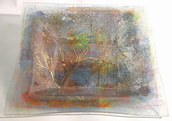 1013: HIGGINS ART GLASS SQUAREISH DISH  ''Pointille'',