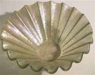 HIGGINS NESA COATED GLASS BOWL  With scalloped ed