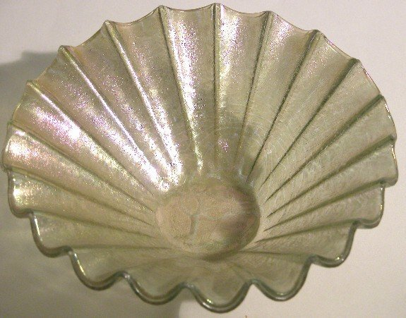 1015: HIGGINS NESA COATED GLASS BOWL  With scalloped ed